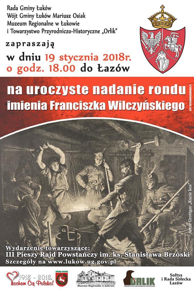 Uroczyste nadanie imienia Franciszka Wilczyńskiego rondu w Łazach
